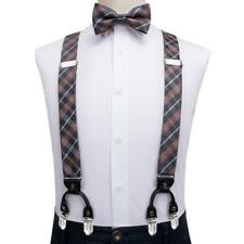 Mens Braces Bow Tie Set Gray Orange Plaid 6 Clips Heavy Duty Elastic Suspenders