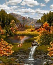 Serene Lake Panel-Timeless Treasures-Dogs-Cabin-Lake-Waterfall-Fall Trees-1 Yard