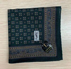 HANDKERCHIEF VTG YvesSaint Laurent GREEN PAISLEY Polka Dot Square Scarf Cotton18