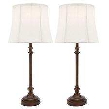 NEW PAIR of Cougar Lighting Elise Bedside Table Lamps Bronze White ELIS1TLBRZ