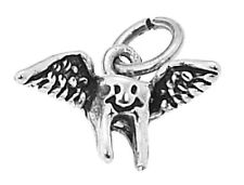 STERLING SILVER TOOTH FAIRY - TOOTH WITH WINGS CHARM/PENDANT