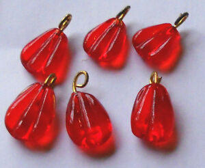 Vintage Beads Glass Drops Dangles Ruby Ribbed Art Deco Nouveau Rose Red  #767