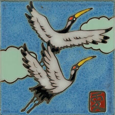 Ceramic Tile Handpainted Sand Hill Crane painting, hot plate, installation