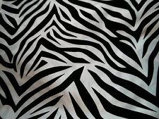 "Zebra pattern Taffeta white Black velvet flocking  58"" wide, Swatch available."