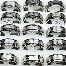 20pcs Wholesale Jewelry Lots Double-layer Stainless steel Spin Women Mens Rings