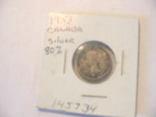 1953 CANADIAN DIME COIN CANADA 10c SILVER
