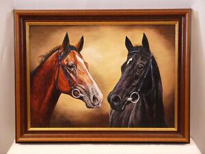 Ausdruckstarkes Gemälde: Pferde Sunny Hill & Rovirco, signiert: Bötzel...