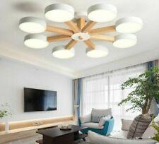 220V LED Chandelier Living Room White Round Lustre Wooden Bedroom Chandelier