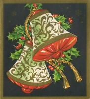 VINTAGE CHRISTMAS EMBOSSED BLACK GOLD WHITE BELLS DECO NOUVEAU ART GREETING CARD