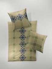 Irisette Edel Flanell Bettwäsche 135x200 4tlg RV Streifen Ornamente grün braun