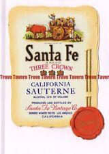 Unused 1940s CALIFORNIA Los Angeles SANTA FE SAUTERNE Wine Label