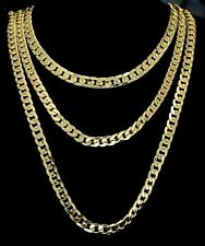 "3pc Chain Set 20"" 24"" 30"" Cuban Links 14k Gold Plated Hip Hop 7mm Necklaces"