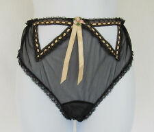 VINTAGE 1950s GLYDONS OF HOLLYWOOD CUTOUT LACE PANTIES BLACK RIBBON SIZE SMALL