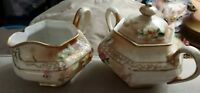 Vintage Porcelain SUGAR & CREAMER  SET floral design HANDPAINTED MADE IN JAPAN
