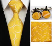 New Yellow White Dots Necktie Men's Tie Cufflinks Hanky Handkerchief Set FC201