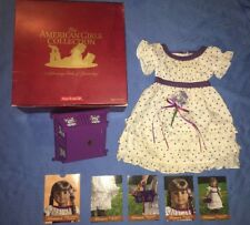 American Girl Kirsten Midsummer Outfit with Purple Dotted Dress, Basket, Cards!