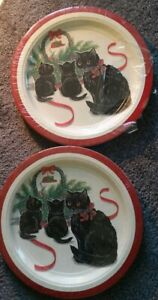 """Two Potpourri Christmas Cat Design Paper Plates, 10 3/4"""", 8 each, Made in USA"""