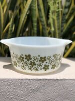 Vintage Pyrex Green Spring Blossom Floral 474 Casserole Dish Round Baking Glass