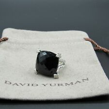 David Yurman Classic Ring Cushion 20mm Onyx With Diamond Size 6.5