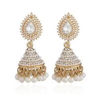 Fashion Women Pearl Pendant Jhumka Drop Ear Stud Wedding Dangle Earrings Jewelry
