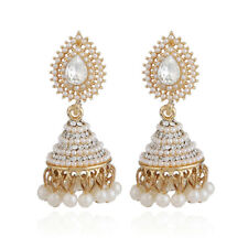 Retro Pearl Pendant Jhumka Drop Ear Stud Wedding Dangle Earrings Women Jewelry