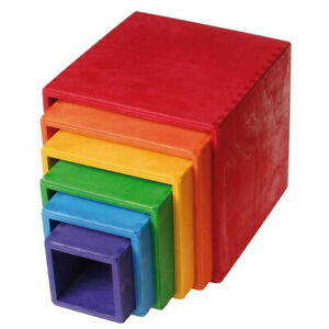 Nested Rainbow Cubes - Pinewood  Kids Childrens Creative Puzzles