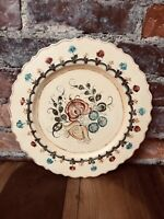 "Vintage Toleware Wood Plate 12""  Plaque Hand Painted Floral Folk Art Tray"