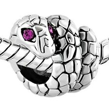 Silver & Purple Crystal Eyes Snake Charm Fit For European Charm Bracelets