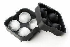 Durable Easy Ice Ball Maker Silicon Mold Tray Large 4 x 4.5 cm, Black