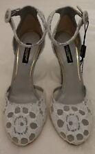 Dolce & GABBANA Tacones Altos adornado de encaje y Correa en el Tobillo Zapatos para mujer gris EU 36