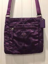 Coach Crossbody Handbag in Purple Nylon with Signature C