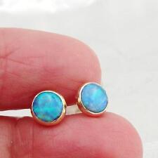 Hadar Designer Handmade 9k Yellow Gold 6mm Round Blue Opal Stud Earrings (I e83