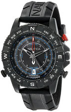Nautica Men's NSR103 Tide Temp Compass S. Steel Black Rubber Watch NAD21001G
