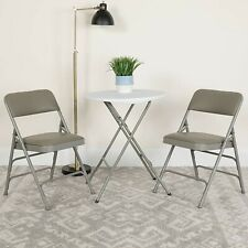 2-QTY HERCULES Triple Braced Double Hinged Gray Vinyl Fabric Metal Folding Chair