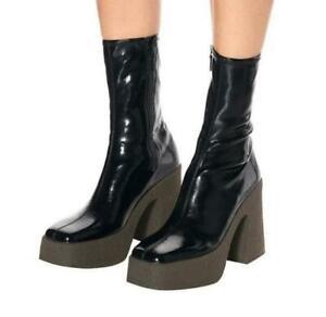 Womens Vogue Patent Square Toe Platform Block Heel Bootie Ankle Boots Shoes SKGB