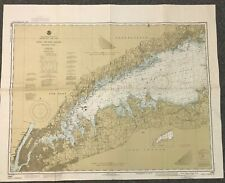 Vintage Nautical Chart of Long Island Sound Western Part CT & NY #12363