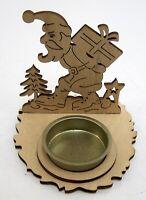 Teelichthalter Weihnacht Weihnachtsmann Tisch Deko Holz LF Design 9 x 9 x 10 cm