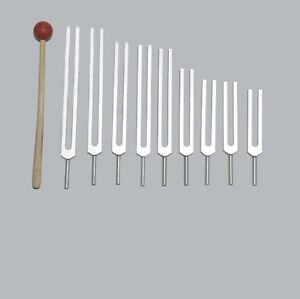 NEW 9Pc Triple Number Tuning Forks Set Universal Mallet Machine made