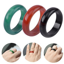3pcs Unisex Women Men Handmade Chinese Retro Natural Gem Agate Jade Band Ring
