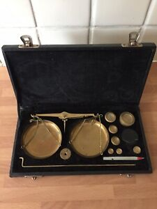 Boxed Set Of Vintage Brass Scales & Weights