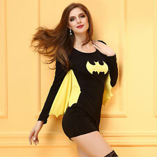 New Ladies Super Hero Bat Woman Batgirl Fancy Dress Costume Clothes Outfits