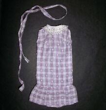 VINTAGE Sindy, Barbie, Tammy DOLL CLOTHES: controllo Lilla Abito cotone, pizzo e cintura