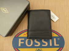 FOSSIL Booklet Tri-fold Wallet LUFKIN Int Combi Black Leather Wallets Gift Tin