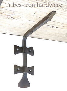 Hand Forged Shelf Bracket Antique Iron Made Wall Wood Glass Support Book Holder