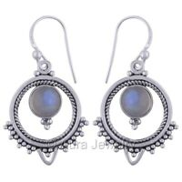 Solid 925 Sterling Silver Natural Rainbow Moonstone Drop Dangle Earrings Jewelry