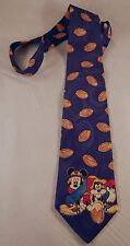 Disney Mickey Mouse & Goofy Playing Football Silk Tie on Blue Background
