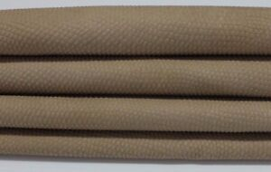 LIGHT WALNUT BROWN REPTILE EMBOSSED Italian Goatskin leather skin 4sqf #A3092