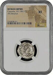 ROMAN EMPIRE CARACALLA AD 198-217 AR DENARIUS - NGC XF - FREE SHIPPING!