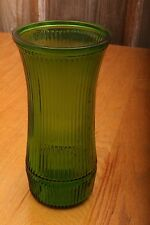 Vintage Hoosier Glass Green Ribbed Vase 4088 - 8 Flower Bud