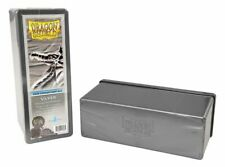 "Card Deck Storage Dragon Shield 4 Compartment Storage Box Silver 8 1/2""x 4""x 3"""